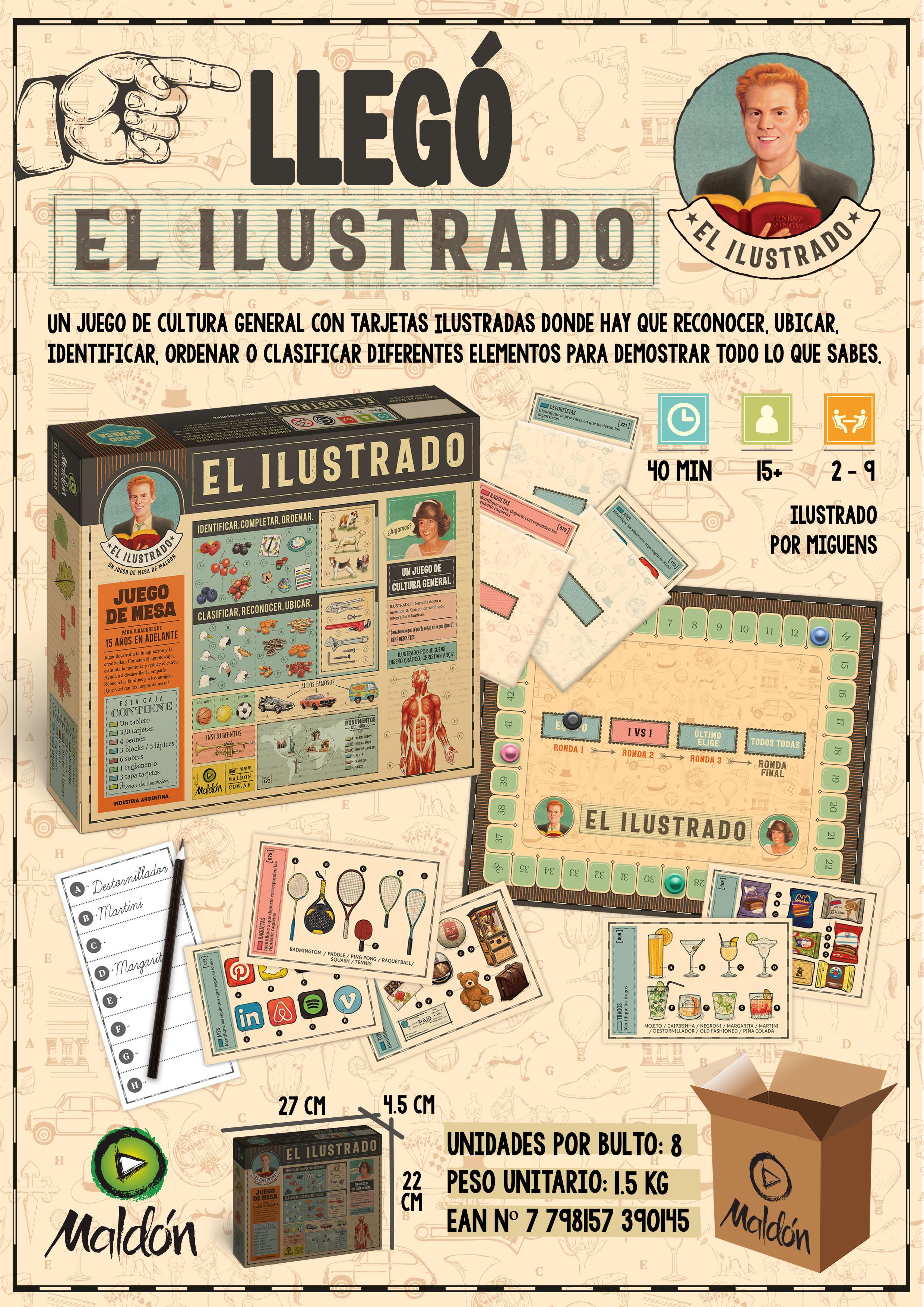El Ilustrado Un juego de Mesa de cultura general. Con tarjetas ilustradas